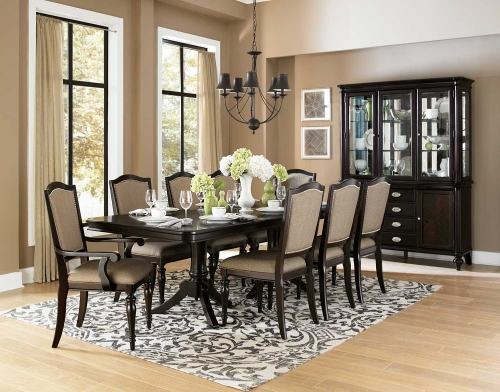 Marston Double Pedestal Dining Set - Neutral tone fabric - Dark Cherry