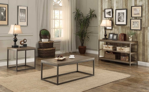 Daria Coffee Table Set - Weathered Wood Table Top with Metal Framing