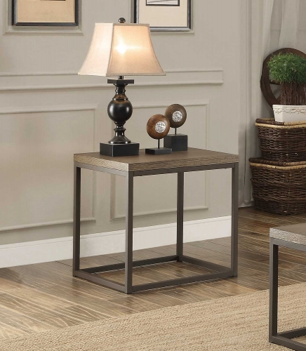 Daria End Table - Weathered Wood Table Top with Metal Framing