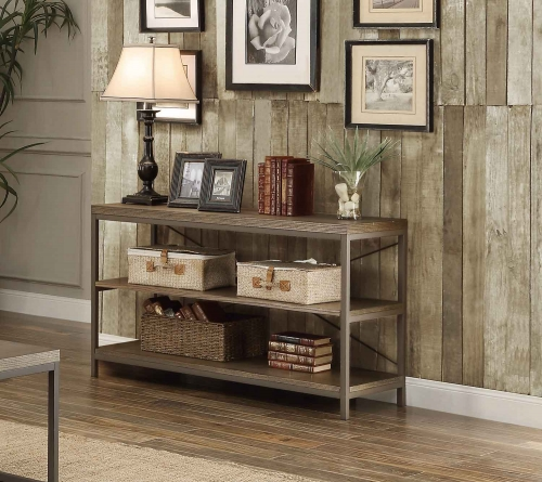 Daria Sofa Table/TV Stand - Weathered Wood Table Top with Metal Framing