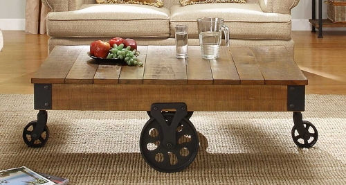 Factory Cocktail Table - Solid Top with Wheels - Rustic Brown
