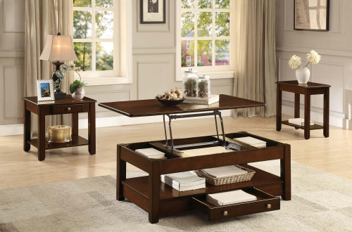 Ballwin Cocktail/Coffee Table Set - Deep Cherry
