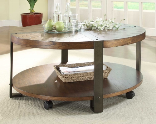 Northwood Round Cocktail Table - Natural Brown