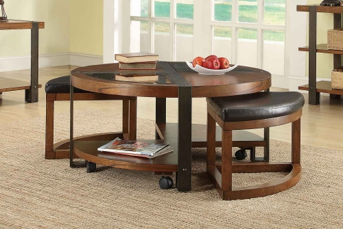Northwood Round Cocktail/Coffee Table with 2 Ottomans on Casters - Natural Brown with Metal Banding