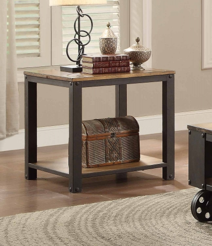 Leandra End Table - Wood Table Top with Metal Framing