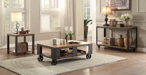 Leandra Coffee Table Set - Wood Table Top with Metal Framing