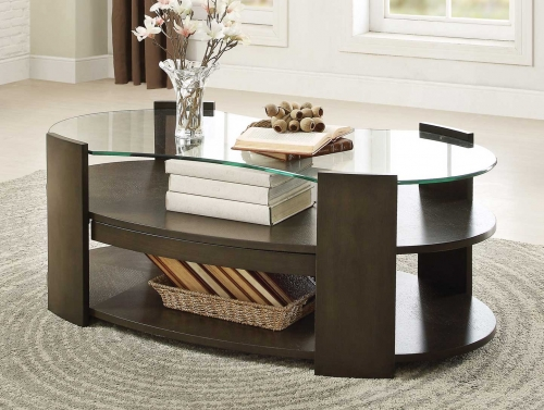 Sicily Cocktail Table with Hidden Tray and Glass Top