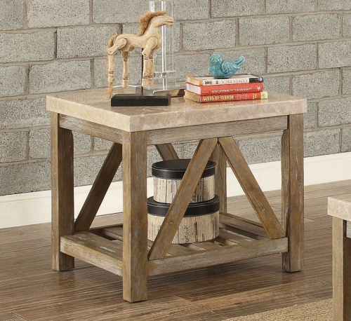 Ridley End Table with Marble Top - Weathered Wood Finish