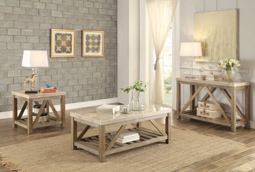 Ridley Cocktail/Coffee Table Set - Weathered Wood Finish