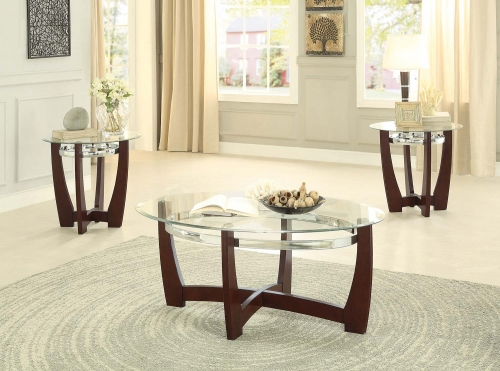 Vasily 3-Piece Occasional Tables with Glass Top - Cherry