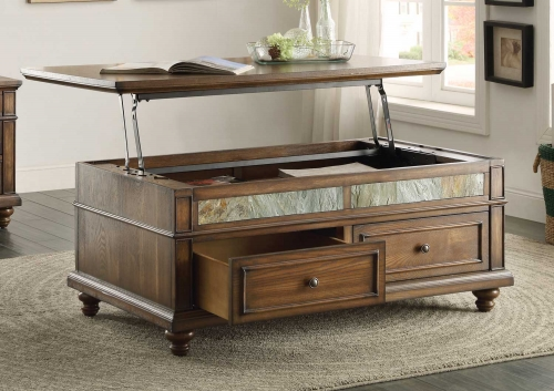Chehalis Cocktail Table with Lift Top and Two Functional Drawers on Casters - Brown Cherry with Oak Veneers