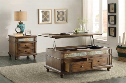 Chehalis Cocktail/Coffee Table Set - Brown Cherry with Oak Veneers