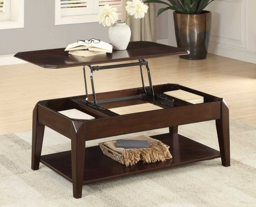 Sikeston Cocktail Table with Lift Top on Casters - Warm Cherry