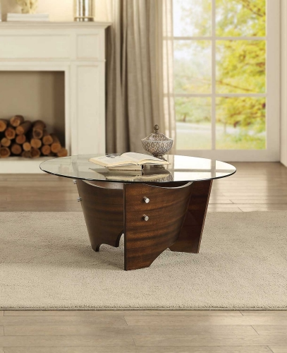 Laszlo Round Coffee/Cocktail Table with Glass Top