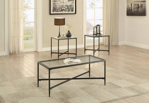 Olas 3-Piece Occasional Tables with Glass Top