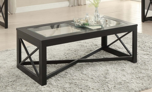 Berlin Cocktail Table with Glass Insert - Black Finished Frames