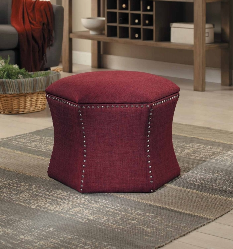 Kennelly 2-Piece Storage Ottoman Set - Red