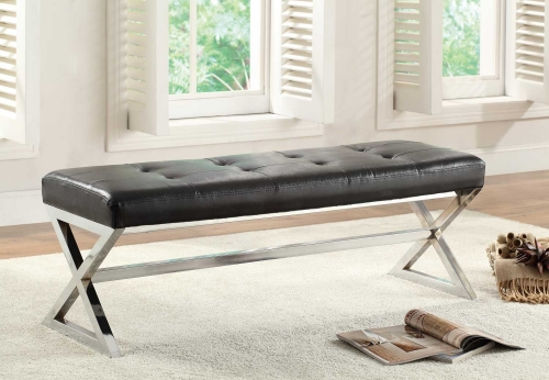Rory X-Base Bench - Black Bonded Leather