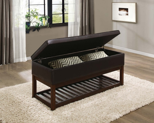 Wichfield Lift Top Storage Bench - Dark Brown Bi-Cast Vinyl