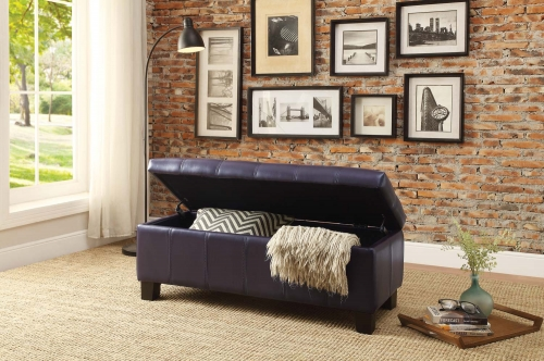 Clair Lift Top Storage Bench - Purple Bi-Cast Vinyl