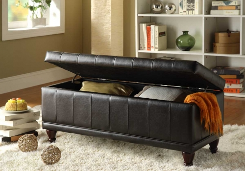 Afton Lift Top Storage Bench Ottoman - Brown Bi-Cast