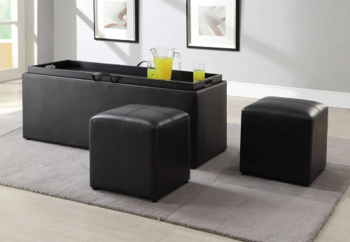 Blasey Storage Ottoman with 2 Cubes - Dark Brown Bi-Cast Vinyl