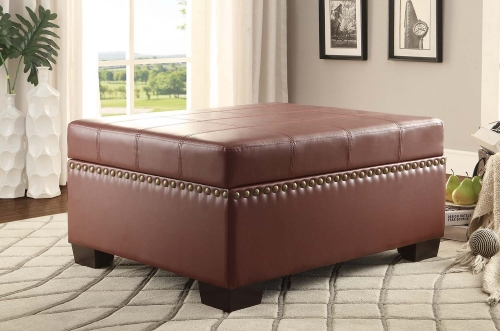 Mendota Lift-Top Storage Bench - Burgandy Bi-Cast Vinyl