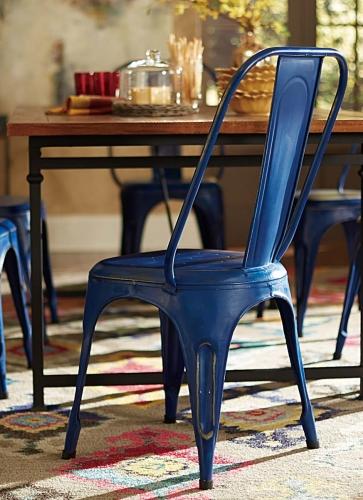 Amara Blue Metal Chair - Blue