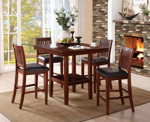 Galena 5-Piece Pack Counter Height Dining Set - Warm Cherry