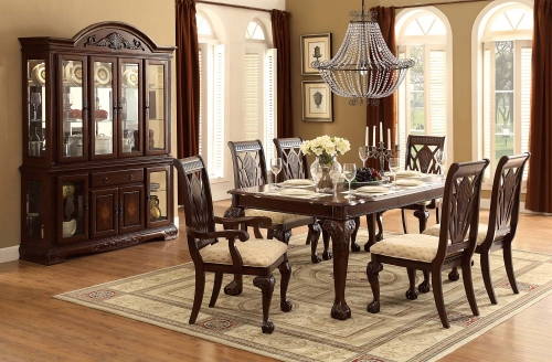 Norwich Leg Dining Table Set - Beige Fabric - Warm Cherry