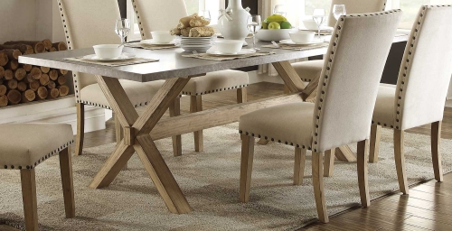 Luella X-Trestle Dining Table - Weathered Oak