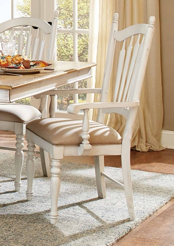 Hollyhock Arm Chair - Distressed White/Oak