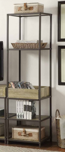 Rumi Side Pier/Bookcase with Tray - Light Burnished Wood with Metal Frame