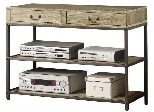 Rumi TV Stand/Sofa Table and Drawers - Light Burnished Wood with Metal Frame
