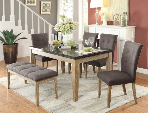 Huron Dining Set - Faux Marble Top - Weathered Wood