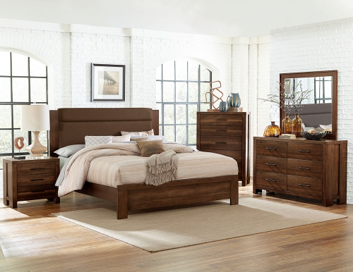 Sedley Upholstered Bedroom Set - Walnut