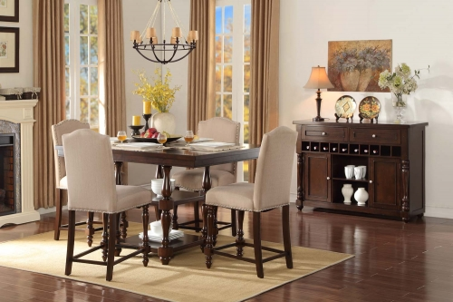 Benwick Counter Height Dining Set - Dark Cherry