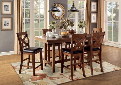 Burrillville Trestle Counter Height Dining Set - Oak