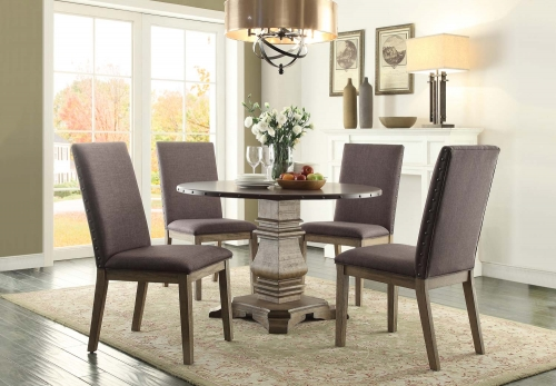 Anna Claire Round Dining Set S1 - Driftwood/Zinc