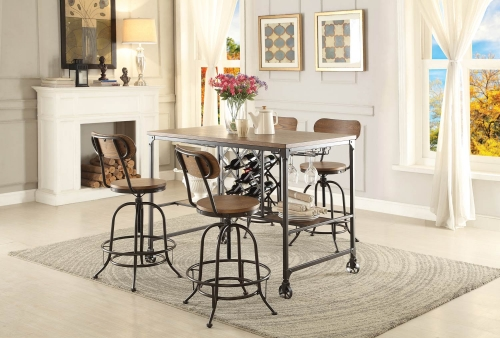 Angstrom Counter Height Dining Set with Wine Rack A