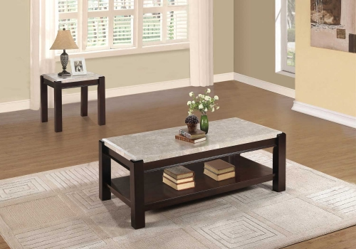Festus Cocktail/Coffee Table Set - Dark Cherry