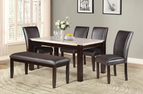 Festus Dining Set - Marble Top - Dark Cherry