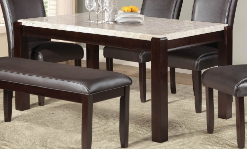 Festus Dining Table - Marble Top - Dark Cherry