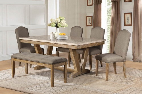 Jemez Dining Set - Faux Marble Top - Weathered Wood