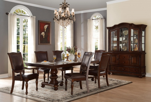 Lordsburg Double Pedestal Dining Set - Brown Cherry