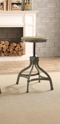 Beacher Round Adjustable Height Round Stool - Weathered Wood Veneer