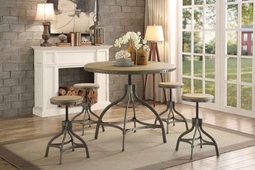 Beacher Round Adjustable Dining Set - Weathered Wood Veneer