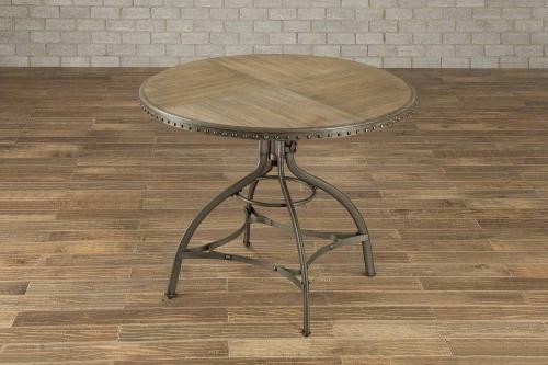 Beacher Round Adjustable Height Dining Table - Weathered Wood Veneer