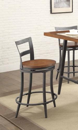 Selbyville Swivel Counter Height Chair - Cherry/Gunmetal