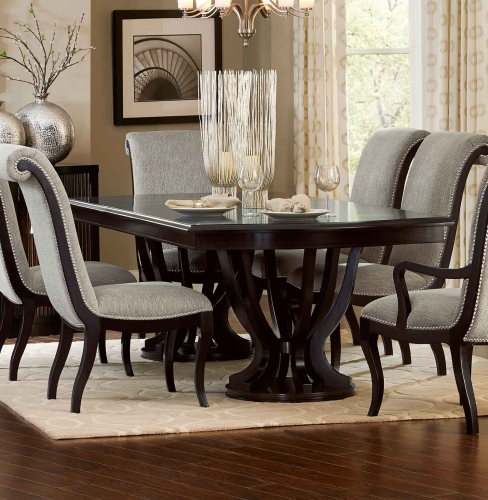 Savion Double Pedestal Dining Table with Leaf - Espresso